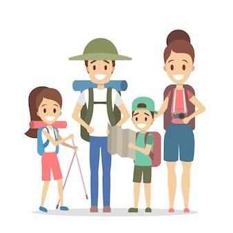 Podróże rodzinne. szczęśliwi rodzice i dzieci jadą na letnie wakacje. ludzie z różnym wyposażeniem na kemping: plecak, aparat i mapa. ilustracja