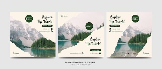 Podróże social media facebook instagram post template set turystyka square marketing ads banner templa