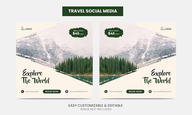 Podróże social media facebook instagram post template set turystyka square marketing ads banner