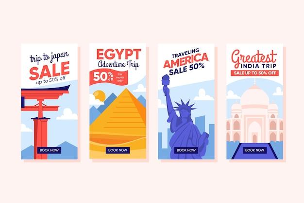 Podróże sprzedażowe historie w mediach społecznościowych