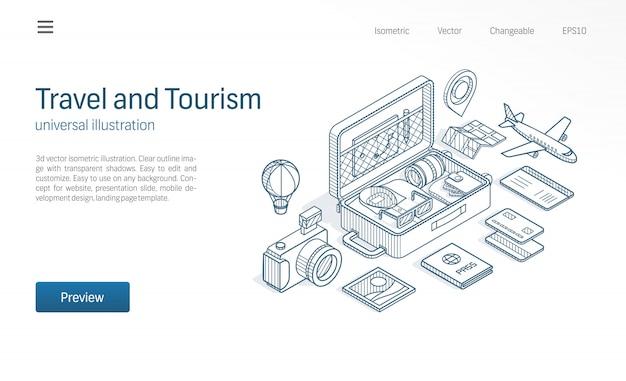 Podróże, turystyka biznesowa nowoczesna linia izometryczna ilustracja. otwórz walizkę, mapę wycieczki, ikony szkicu biletu lotniczego. koncepcja przygody na wakacje.