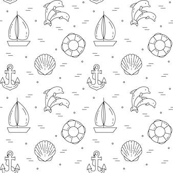 Podróże w tle. wzór z żaglówkę, delfiny, powłoki, kotwica i koło ratunkowe. płaska linia sztuki. ilustracji wektorowych. koncepcja podróży, turystyka, biuro podróży, okładka tapet hoteli