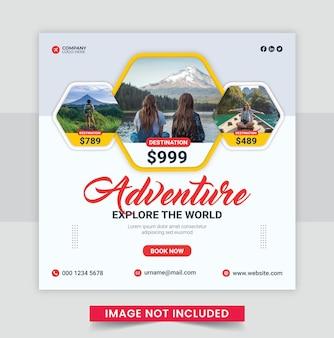 Podróże wakacje turystyka post w mediach społecznościowych lub szablon banera internetowego