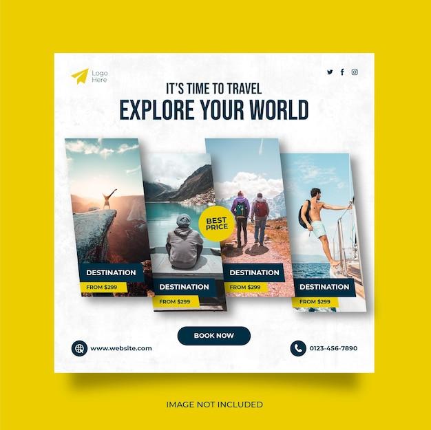 Podróże wakacyjne wakacje w mediach społecznościowych publikują baner internetowy