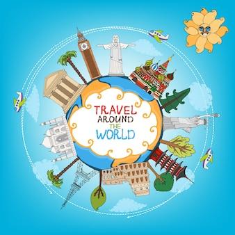 Podróże zabytki zabytki na całym świecie z wektorem samolotu, słońca i chmur