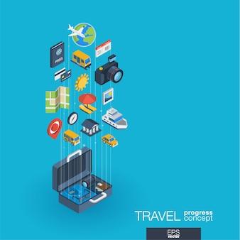 Podróże zintegrowane ikony internetowe. koncepcja postępu izometrycznego sieci cyfrowej. połączony system wzrostu linii graficznych. tło z mapą wycieczki, rezerwacją hotelu, biletem lotniczym. infograf