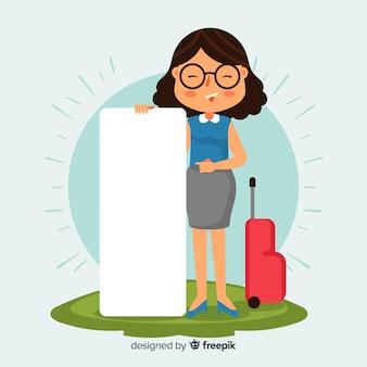 Podróżna kobieta trzymając pusty transparent