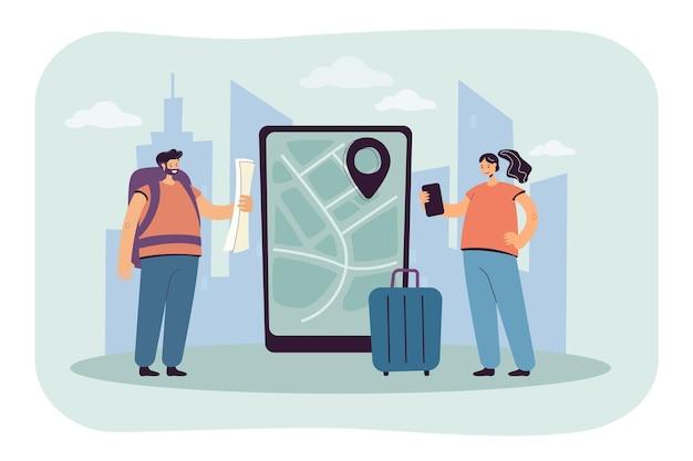 Podróżni stojący obok tabletu z mapą na ekranie. mężczyzna i kobieta z torbami budują płaską ilustrację trasy podróży