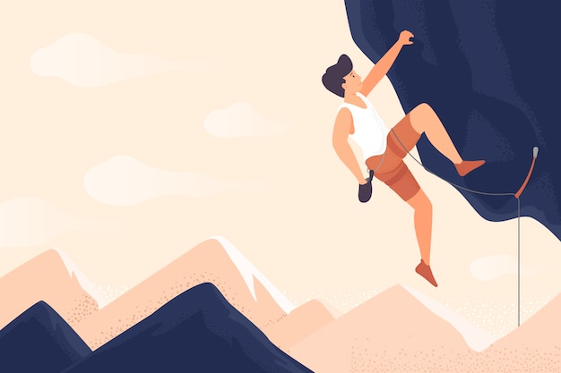 Podróżnik lub odkrywca wędrówki górskie. pojęcie odkrywania, eksploracji, turystyki, turystyki przygodowej i podróży.