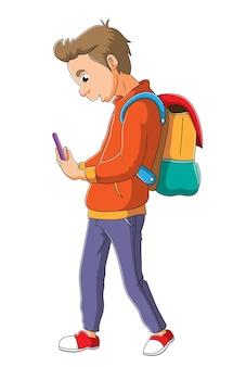 Podróżnik robi zdjęcie telefonem komórkowym z ilustracją