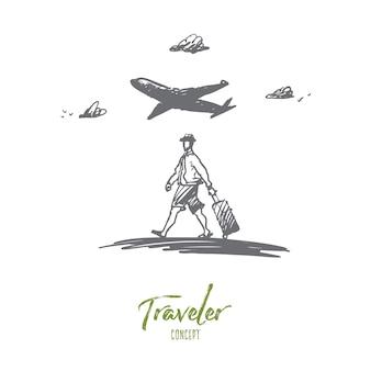 Podróżnik, spacery, walizka, koncepcja lotniska. ręcznie rysowane człowiek chodzenie z bagażem w szkic koncepcji lotniska.