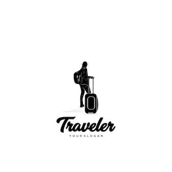 Podróżnik sylwetka logo