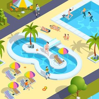Podróżnik w ośrodku hotelowym pływający cieszący się dziećmi bawiącymi się w wodzie luksusowe wakacje izometryczny osoba.