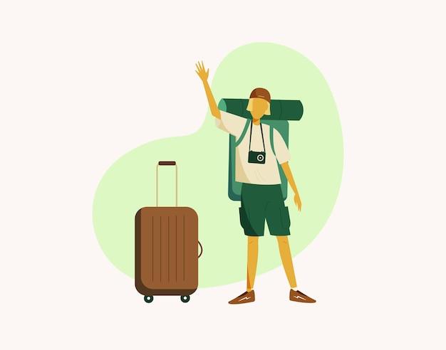 Podróżnik z dużą walizką i plecakiem kempingowym macha ręką