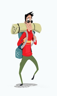 Podróżnik z plecakiem piesze wycieczki sprzęt w górach