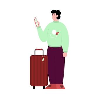 Podróżnik z walizką trzymającą telefon kreskówka wektor ilustracja na białym tle