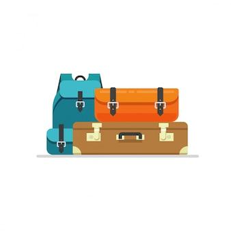Podróżny bagaż lub torebka i plecak