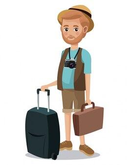 Podróżny człowiek broda kamera turystyczna portfel walizki