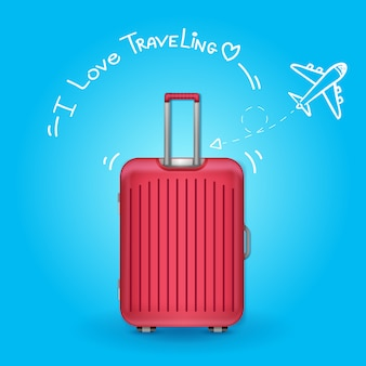 Podróżny z bagażem. samolotem w punkcie podróży dookoła świata koncepcja na tle.