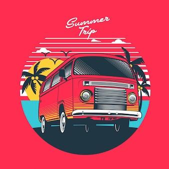 Podróżować letnim samochodem kempingowym