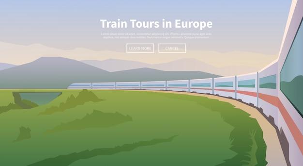 Podróżować pociągiem. baner internetowy.