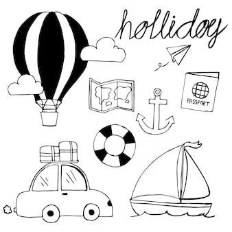 Podróżować pojęcie doodle element i akcesoria