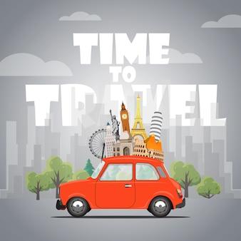 Podróżować samochodem. podróż samochodem. czas na podróże, turystyka, wakacje. różne rodzaje podróży. ilustracja