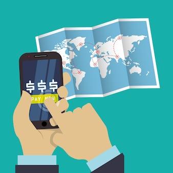 Podróżować smartphone cyfrowy świat mapy płatności