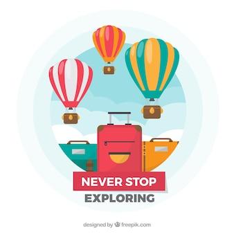 Podróżować tło z balonami i walizkami