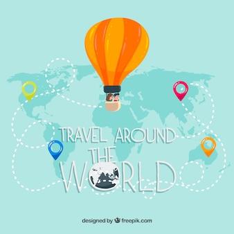 Podróżować tło z balonem na mapie