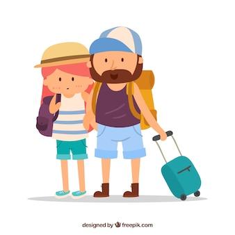 Podróżować tło z parą