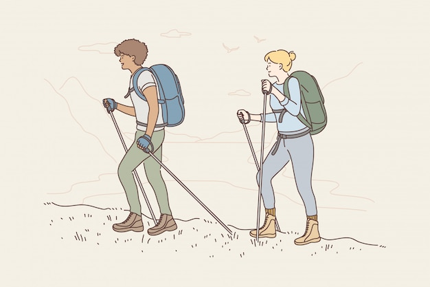 Podróżowanie koncepcja przygody turystyki górskiej