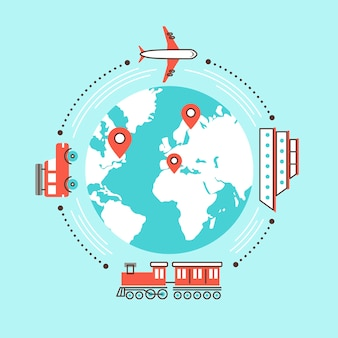 Podróżowanie po świecie różnymi środkami transportu