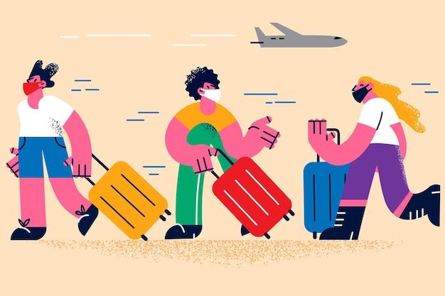 Podróżowanie podczas koncepcji pandemii koronawirusa. grupa ludzi w ochronnych maskach medycznych chodzących z bagażem w budynku lotniska czekając na ilustrację wektorową wyjazdu