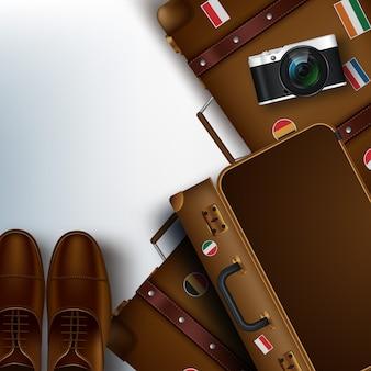 Podróżowanie przedmiotów realistycznych 3d, takich jak walizka, aparat fotograficzny, buty