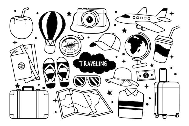 Podróżowanie ręcznie rysowane doodle ilustracja