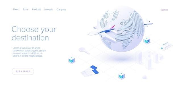 Podróżowanie samolotem na izometrycznej stronie docelowej. dookoła świata wycieczka lotnicza lub podróż. usługa wyszukiwania i rezerwacji tanich biletów lotniczych. układ strony internetowej lub szablon banera internetowego.