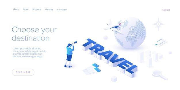 Podróżowanie samolotem na izometrycznej stronie docelowej. dookoła świata wycieczka lotnicza lub podróż. usługa wyszukiwania i rezerwacji tanich biletów lotniczych układ strony lub szablon strony internetowej.