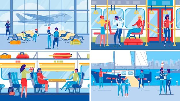 Podróżowanie transportem naziemnym, powietrznym i wodnym.