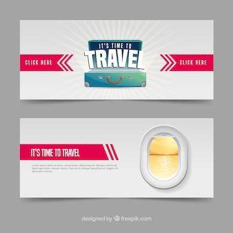 Podróżuj banery z miejscem docelowym