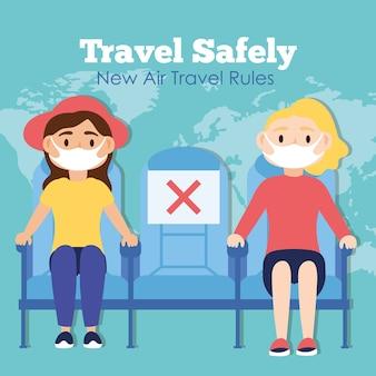 Podróżuj bezpiecznie kampania z pasażerami noszącymi maski medyczne w projektowaniu ilustracji wektorowych foteli samolotowych