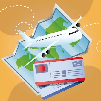 Podróżuj bilety lotnicze samolotem i mapa świata wakacje turystyka ilustracja