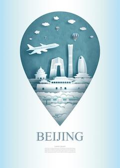 Podróżuj chiny pekin pin pomnik architektury w azji ze starożytnymi.