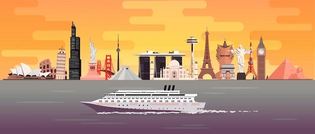 Podróżuj dookoła świata po oceanach na statku turystycznym. zabytki świata o zachodzie słońca. ilustracja podróży.