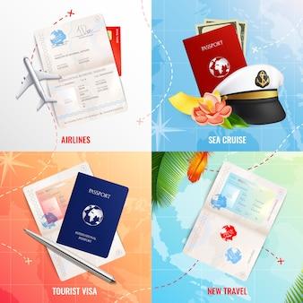 Podróżuj drogą powietrzną i morską koncepcja reklamy 2x2 z makietami paszportu biometrycznego i realistycznymi ikonami stempla wizowego