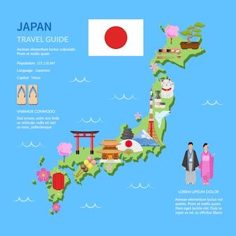 Podróżuj japonia przewodnik płaska mapa plakat