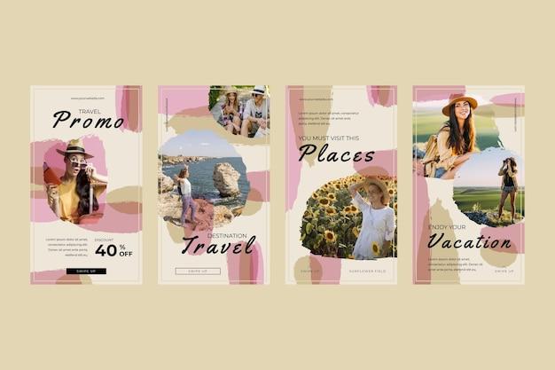 Podróżuj kolekcja historii na instagramie z pociągnięciami pędzla