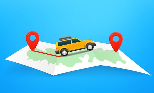 Podróżuj koncepcją samochodu z mapą