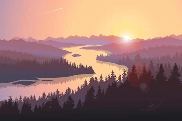Podróżuj krajobraz z dużą rzeką biegnącą wśród zalesionych wzgórz o wschodzie słońca ilustracja wektorowa