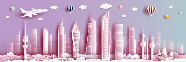 Podróżuj kuwejt z nowoczesnym budynkiem, panoramą, wieżowcem.